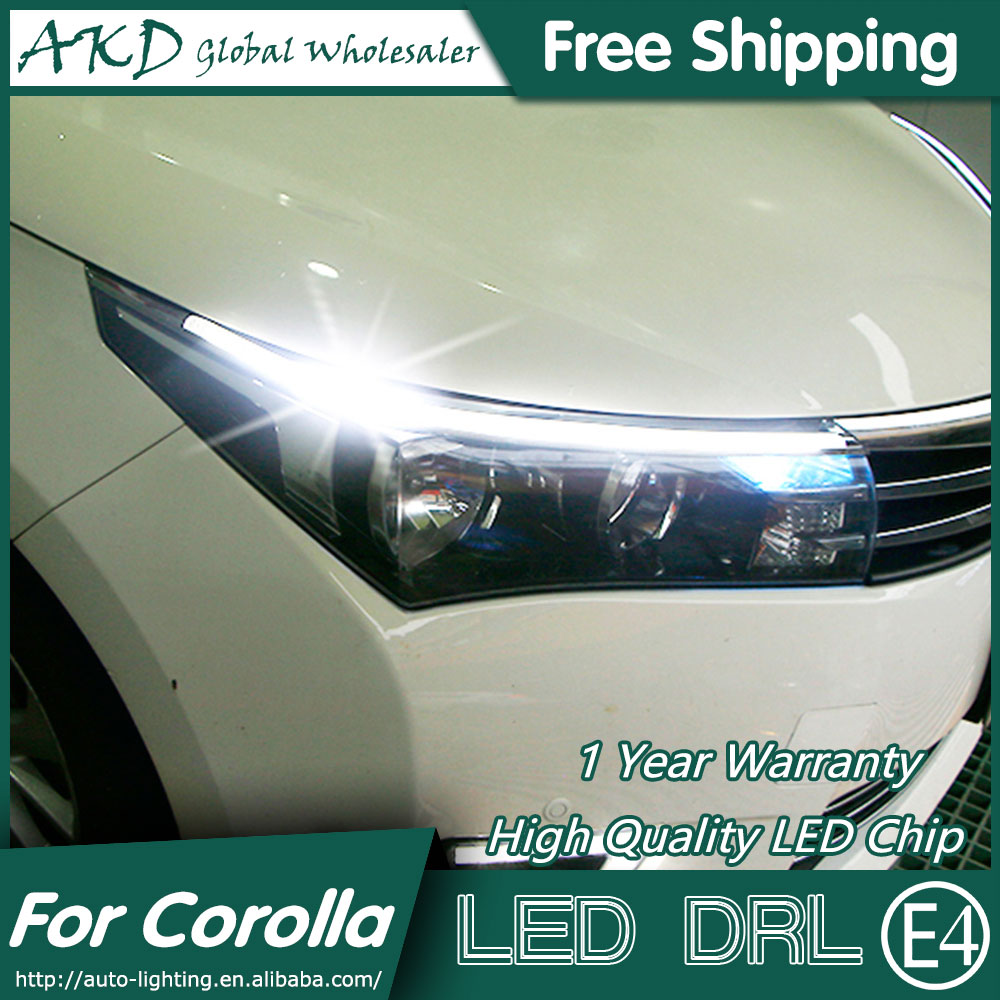 AKD Car Styling LED DRL for Toyota Corolla 2014-2015 New Altis Eye Brow Light LED External Lamp Signal Parking Accessories special car trunk mats for toyota all models corolla camry rav4 auris prius yalis avensis 2014 accessories car styling auto