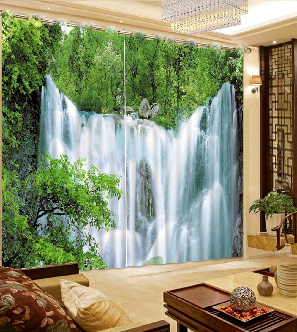 Beautiful waterfall nature scenery blackout curtain 3d for Bedrooms curtains photos