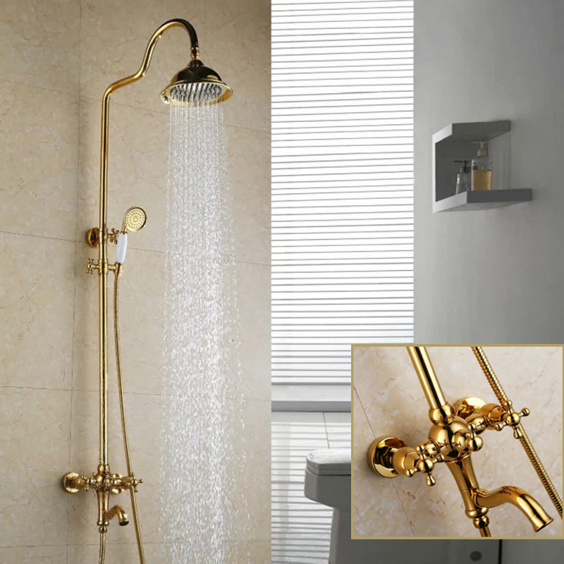Bathroom Shower Faucet Luxury Polished Gold Double Handle Rotatable Lifting Type Shower Tap with Big Waterfall Spray Head, Brass