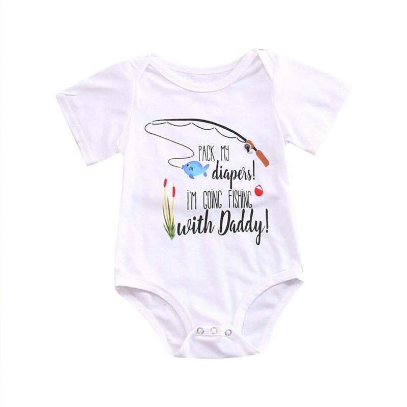 Angemessen Pudcoco Neugeborenes Baby Boy Bodys 2018 Angeln Mit Papa Brief Bodys Kleidung Bebe Kleidung Kinderwagen Roupas Body