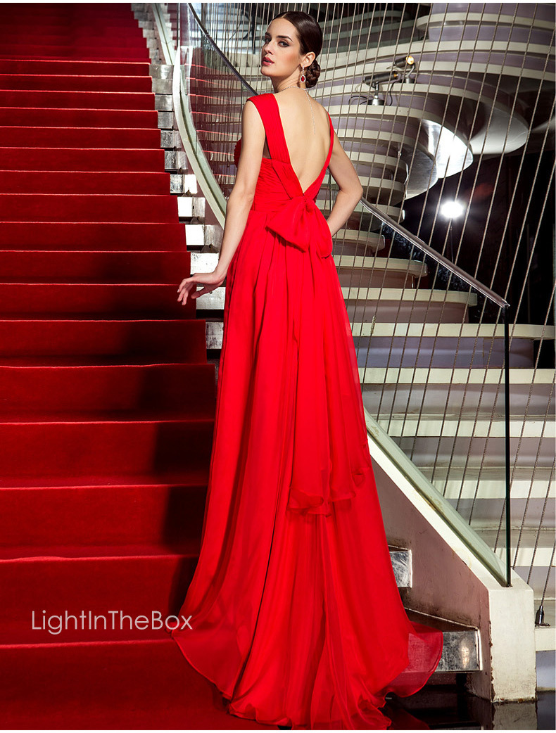 free shipping sexy backless 2018 new design robe de soiree vestido de festa long red chiffon long elegant   bridesmaid     dresses
