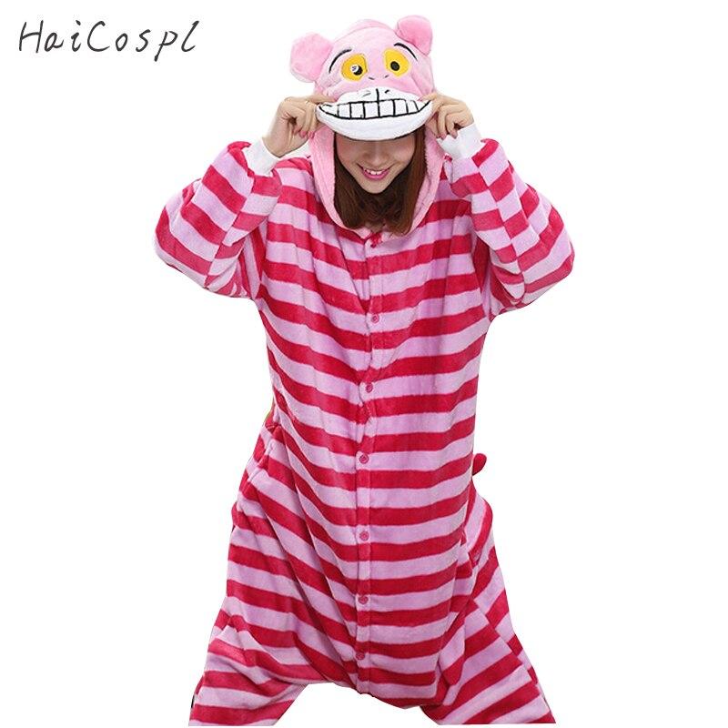 Cheshire Cat Pajama Women Pink Stripe Anime Cosplay Costume Flannel Warm Onesie Adult Alice in Wonderland Sleepwear For Girls