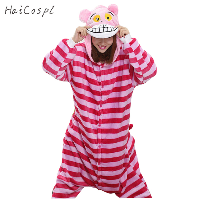 2c0843a15f49 Cheshire Cat Pajama Women Pink Stripe Anime Cosplay Costume Flannel Warm Onesie  Adult Kigurumi Sleepwear For