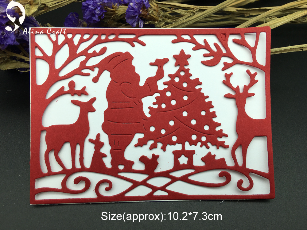 METAL CUTTING DIES Cut Father Christmas Santa Claus Tree