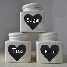 Lovely Heart Style Kitchen Cup Bottle Decor Chalkboard Label 72Pcs Removable Wall Decal Stickers