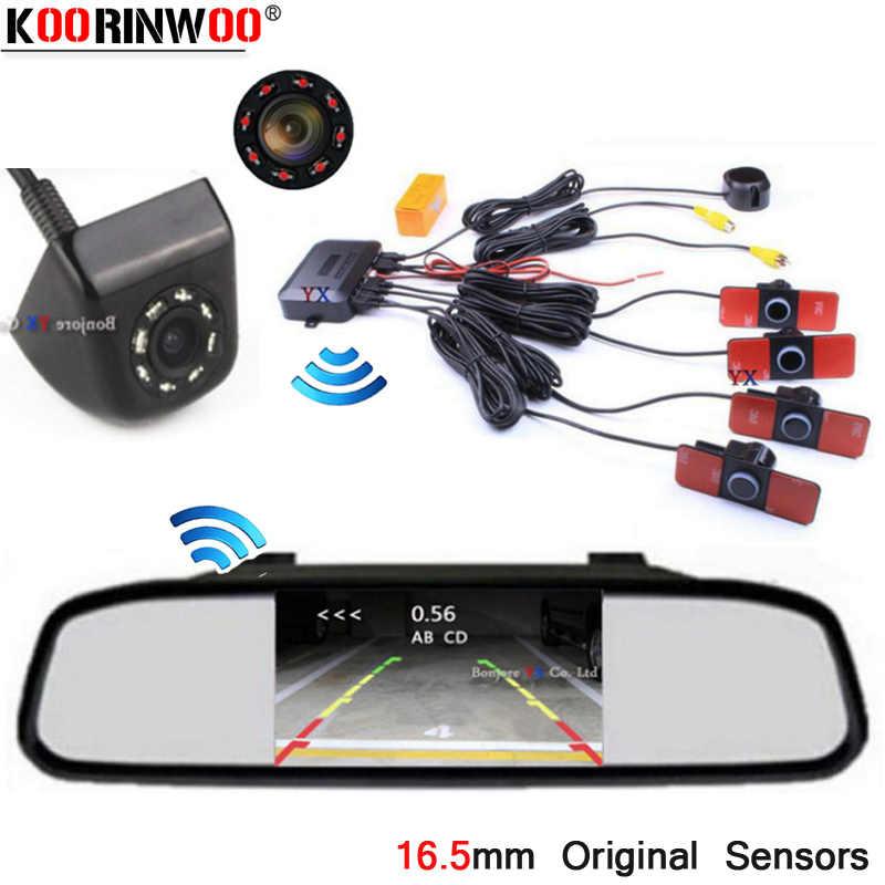 Koorinwoo Parktronic Originele Parkeer Sensor Screen Monitor Spiegel Digitale Achteruitrijcamera Terug Reverse Step-up Alarm Zwart