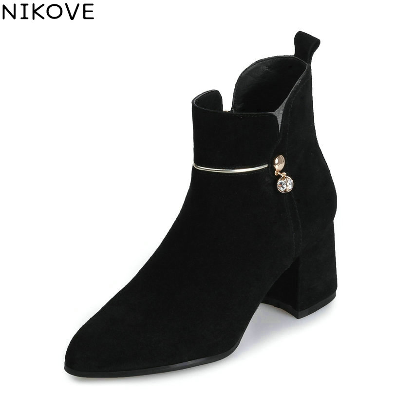 NIKOVE 2018 Women Boots Zipper Pointed Toe Short Plush/PU Square High Heels Chunky Elegant Ankle Boots Ladies Boots Size 34-39 esveva 2018 high heels women boots short plush boots square heels elegant chunky pointed toe ankle boots ladies shoes size 34 39