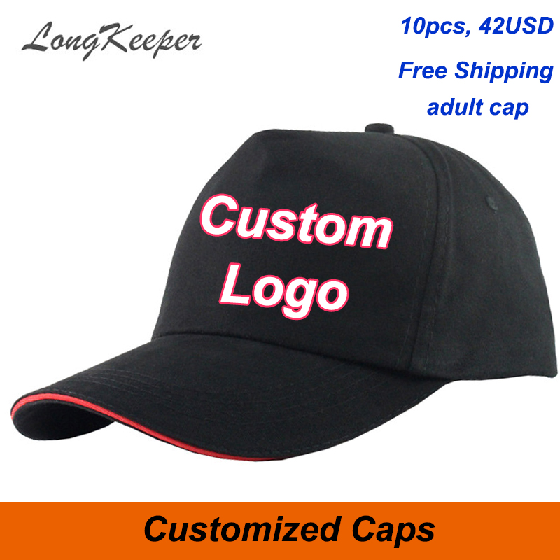 LongKeeper Custom baseball Cap Trucker Caps Fastener Tape adjustable Hat Logo Custom print Text picture personalize 10pcs/lot