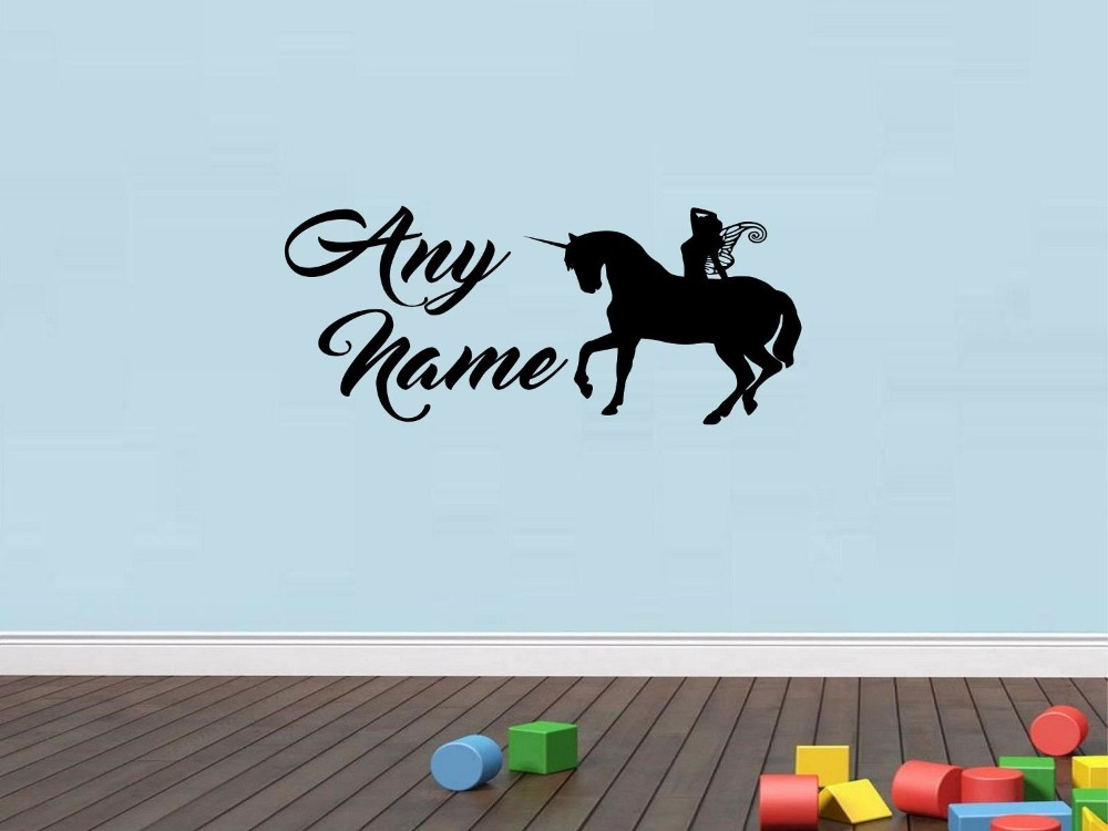 Muursticker Paard Met Naam.Us 9 9 Mooie Maatwerk Gepersonaliseerde Fairy Eenhoorn Muursticker Paard Art Decal Kids Slaapkamer Vinyl Decor U Kiezen Naam En Kleur In