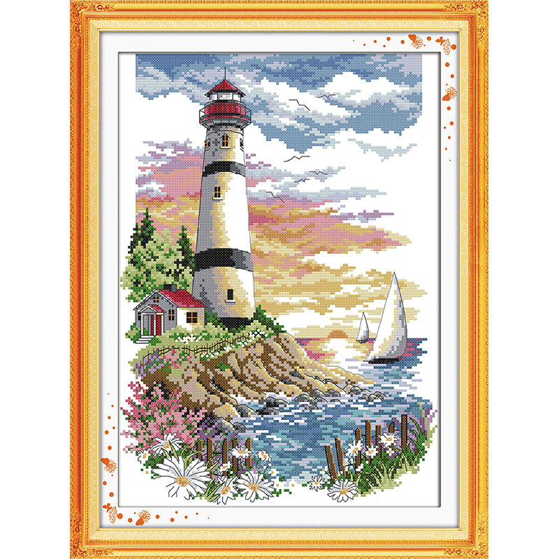 Everlasting love Christmas Lighthouse (4) Ecological cotton Cross Stitch ktts stamped 11 14CT Printed decorations for home gift