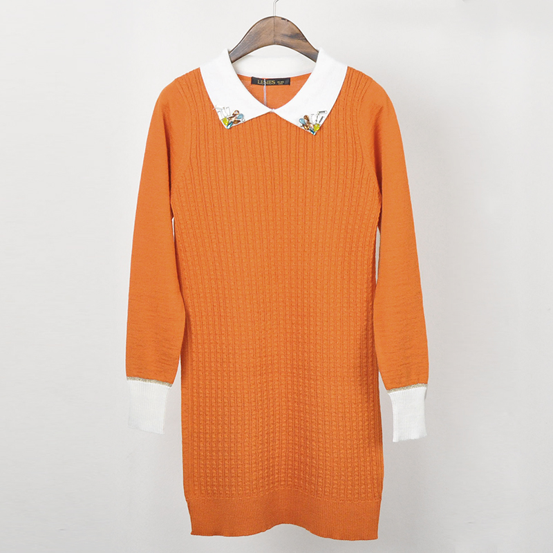 Autumn New Fashion Appliques Collar Orange Long Sleeve