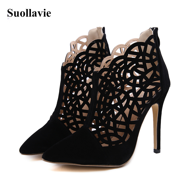 2019 Summer Gladiator Boots Sandals Pointed Heeled Ankle Boots Zipper Women Solid Hollow Out Party Shoes Black Size 35 40 in Ankle Boots from Shoes