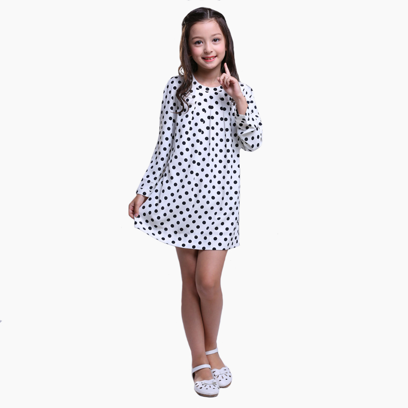 2018 BURDULLY Girls Dress Big Girls Chiffon Vestido Wave Point Long Sleeve Crew Neck for Children A-line Clothing High Quality 3d print crew neck long sleeve sweatshirt