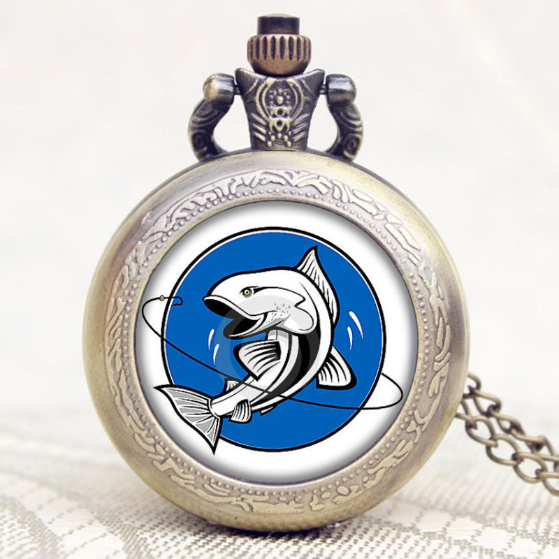 New Arrival Fishing Design Glass Dome Case Quartz Pocket Watch With Necklace Chain Blue Fish Design For Gift