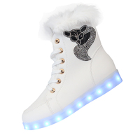 led shoes 2016 Luminous Shoes High Quality LED Lights Colorful Shoes unisex Casual Shoes Rabbit's Hair Snow Boots