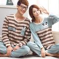 Free Shipping New arrive 100% Cotton Length Sleeve Button Striped Couples Gray Color Homewear Sets