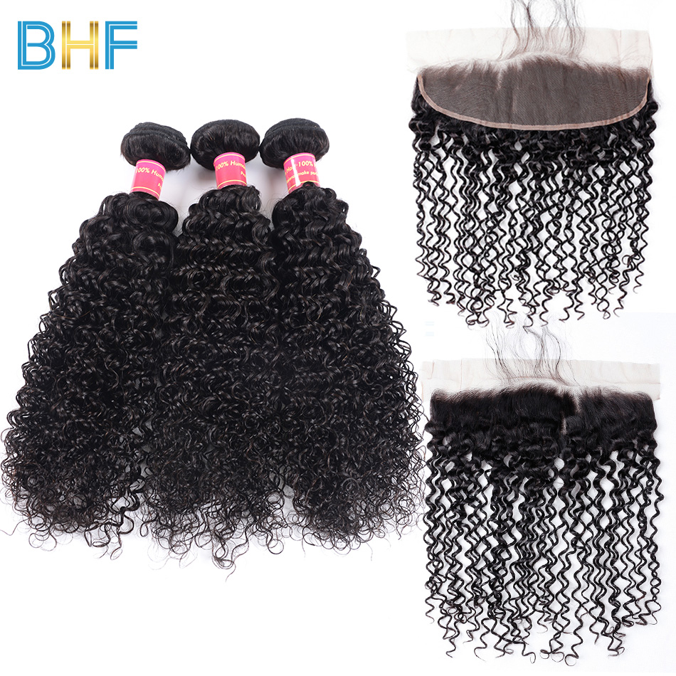 Malaysian Kinky Curly Hair With Lace Frontal Closure With Bundles Virgin Human Hair Curly Weave 3 Bundles With Closure BHF Hair