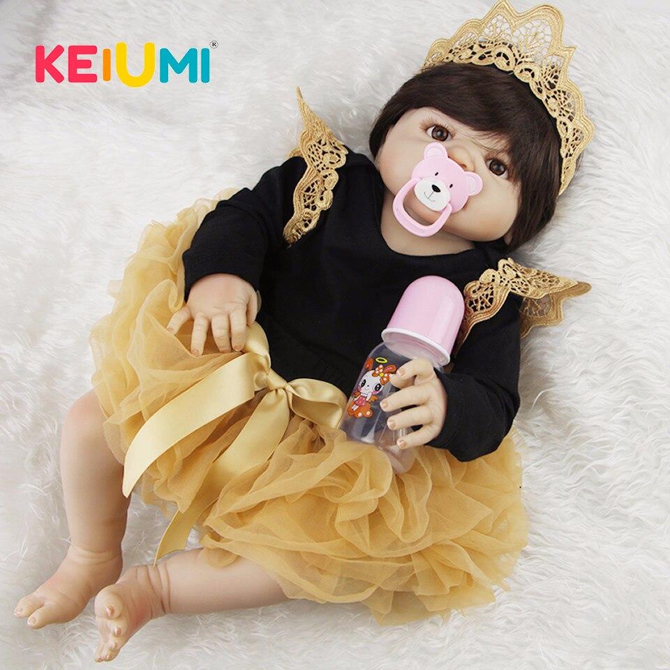 Lebensechte 23 ''Neugeborenen Puppe Können Baden Volle Silikon Vinyl Körper Reborn Puppen Baby Prinzessin Brinquedos Beste Geburtstag Geschenke für mädchen