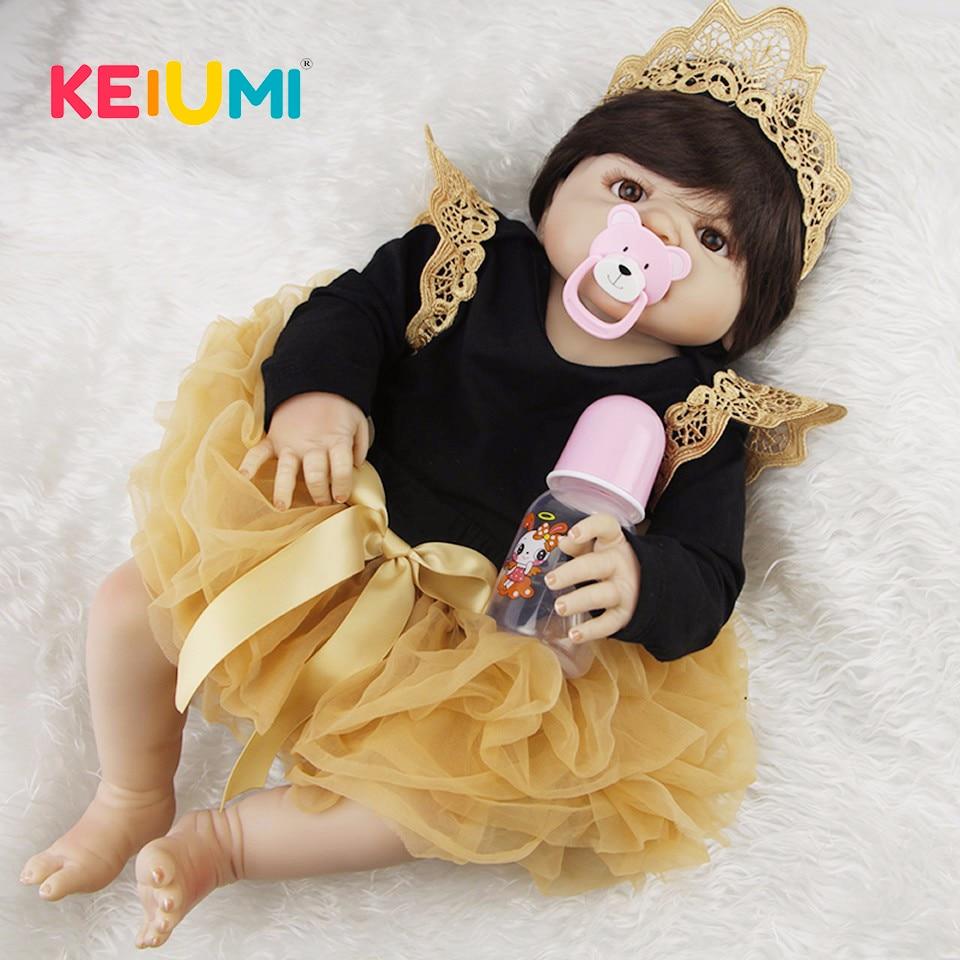 Lifelike 23 Newborn Doll Can Bathe Full Silicone Vinyl Body Reborn Dolls Baby Princess Brinquedos Best