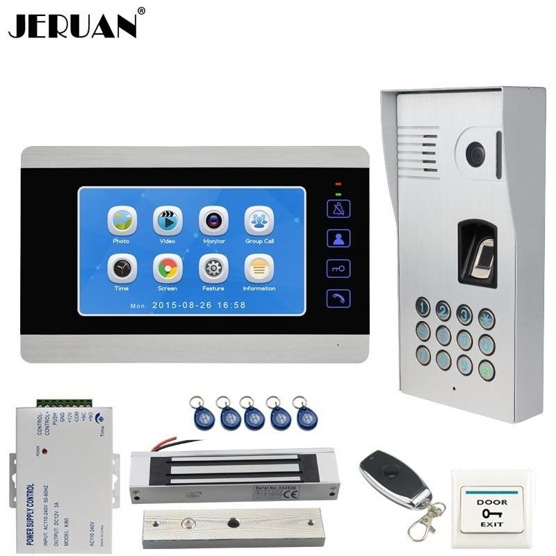 JERUAN 7 inch LCD Video Door Phone Doorbell Record Intercom System Metal Fingerprint Code Keypad RFID Access Camera With Lock цена 2017