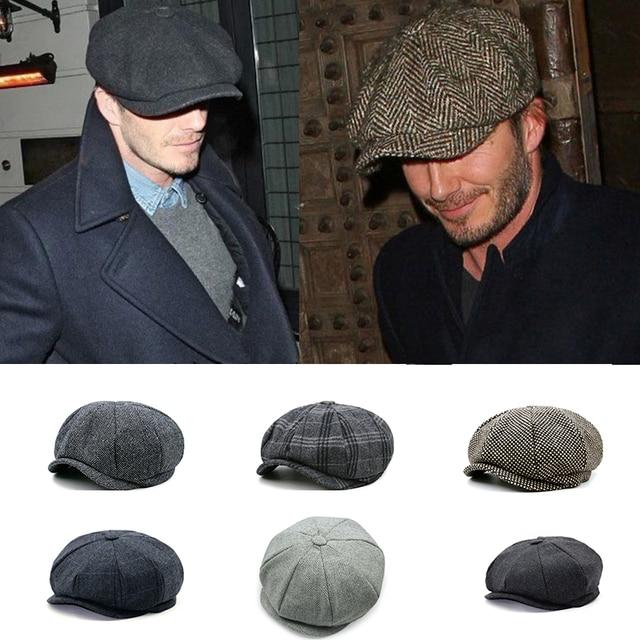 582c3042 Women Men's Newsboy Caps Movie star Retro HERRINGBONE TWEED fashion  Octagonal Cap Driving Men Wool Fleece Hat winter Autumn Hats