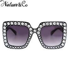 Natuwe&Co 2018 Luxury Designer Diamond Ladies Sunglasses Oversized Square
