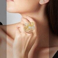 ModemAngel Full Cubic Zirconia Big Geometric Flower Women Ring Engagement Wedding Fashion African jewelry