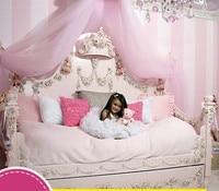 Европейский Средиземноморский Стиль резного дерева пользовательские Мебель кровать для девочек