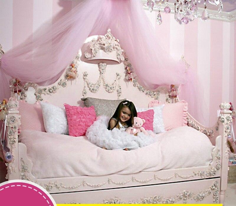 Muebles personalizados de madera tallada de estilo europeo y Mediterráneo, cama para niñas y niños 4 pósteres de cama rosa, dosel para cama de princesa Queen, mosquitera, tienda de cama, cortina de cuatro esquinas de largo hasta el suelo de 1,5x2 m # WW