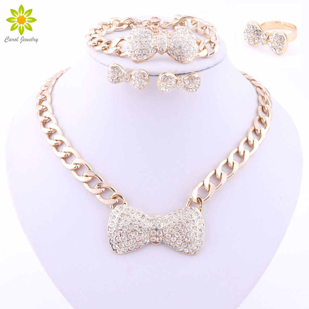 African Jewelry Set Gold Color Crystal Bow Jewelry Sets Earrings Bracelet Ring Necklace Fashion Jewelry Set 3Color