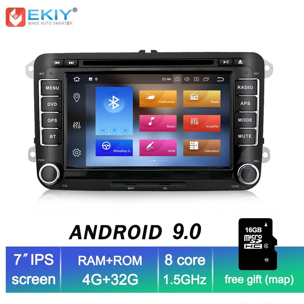 EKIY 4G + 32G 2 Din 7 ''lecteur multimédia de voiture IPS Android 9.0 pour VW Polo Passat B6 Golf 5 6 Skoda Octavia siège Autoradio GPS Navi
