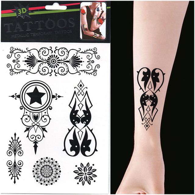 Hot Sale 10pcs Black Five pointed Star Temporary Tattoo Lettering ...