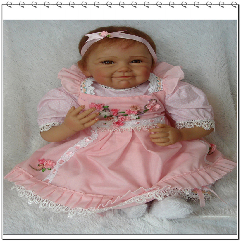 55cm Pink Flower Dolls & Accessories Toys & Games Lifelike Reborn Baby Doll Soft Simulation Silicone Girl Toy 22in