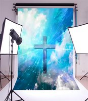 Photography Backdrop Jesus Cross Holy Lights Bokeh Twinkle Sequins Blue Sky White Cloud Heaven Religion Belief Photo Background
