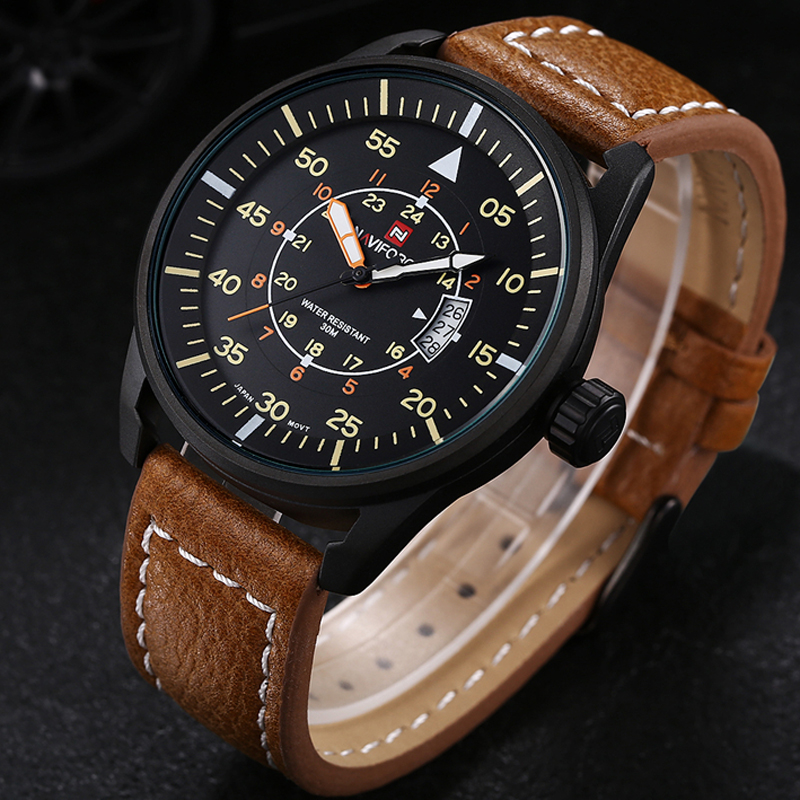 2016 Watches men NAVIFORCE 9044 luxury brand Quartz Clock dive 30M Casual Army Military Sports watch Leather relogio masculino weide new men quartz casual watch army military sports watch waterproof back light men watches alarm clock multiple time zone