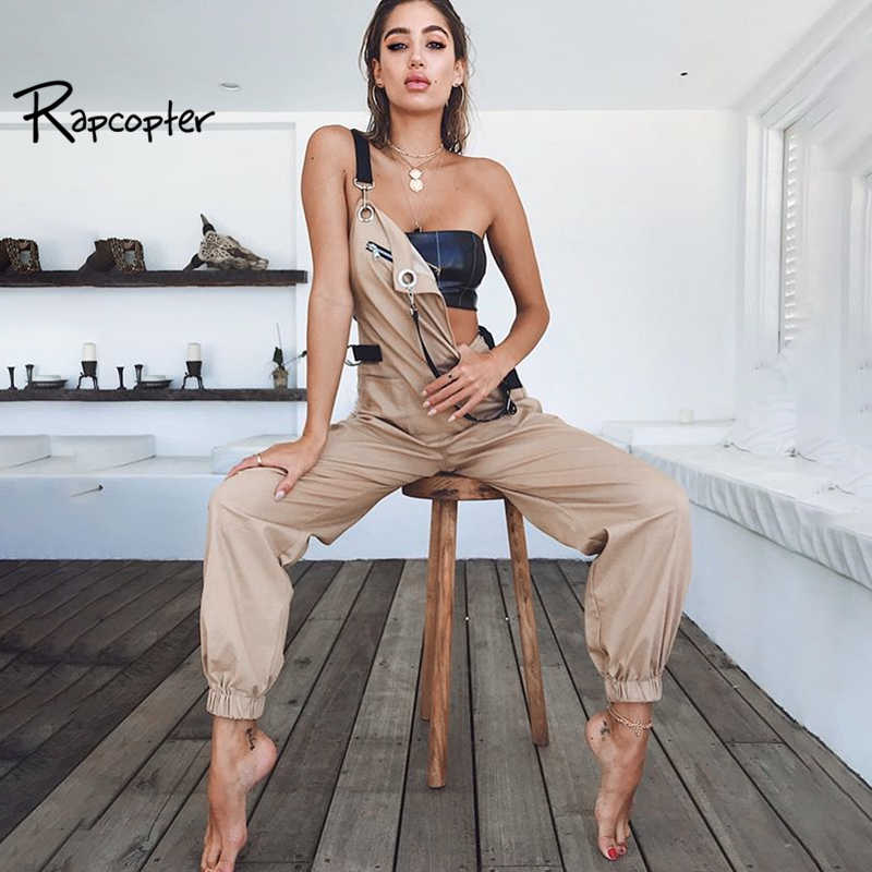 Rapcopter Women Brand Casual Overalls Loose Casual Khaki Patchwork Pants Zipper High Waist Pockets Pockets Backless Pop Trousers
