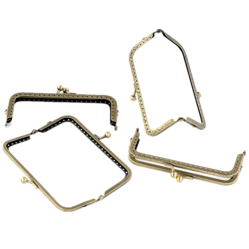 10Pcs Bronze Tone Rectangle Flower Pattern Metal Frame Kiss Clasp Lock Purse Bag Handle Component 12.7x6.6cm