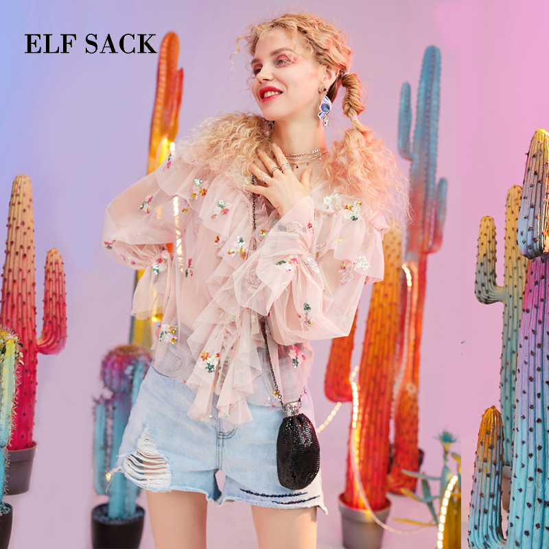 ELF SACK 2019 New Woman Shirts Casual Ruffles Floral Sequin V Neck Chiffon Women Blouse Stylish