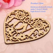 10pcs/set Hollow Heart Shapes Craft Wooden Ornaments New Year Home Supplies