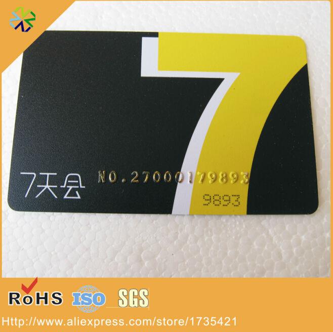 Cr80 1000 Teile/los Kunststoff Pvc Gold Geprägtem Nummern Matt Pvc Mitgliedskarten Druck Visitenkarten