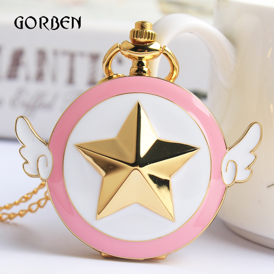 Lovely Pink Fashion Sailor Moon Quartz Pocket Watch Star Wings Fob Clock Necklace Chain Gifts For Men Girl Relogio DeBolso