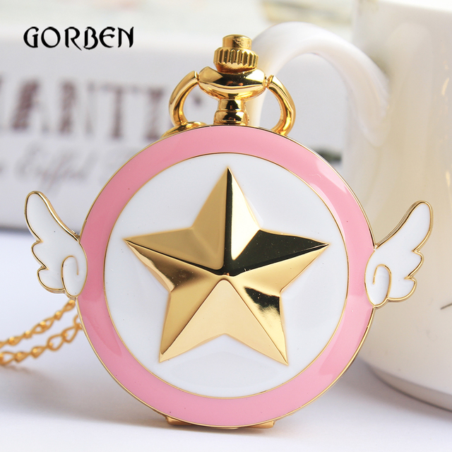 Lovely Pink Fashion Sailor Moon Quartz Pocket Watch Star Wings Fob Clock Necklac