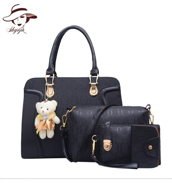 4 PC Set Crocodile Pattern Composite Bag Fashion Women Messenger Bags Bear  pendant Shoulder Handbag Purse Wallet Leather Tote 06edf658c5