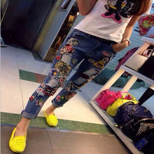 Autumn Stylish Women Jeans Girls Pants With Holes Loose Ripped Cartoon Mouse Embroidery Jeans A-21