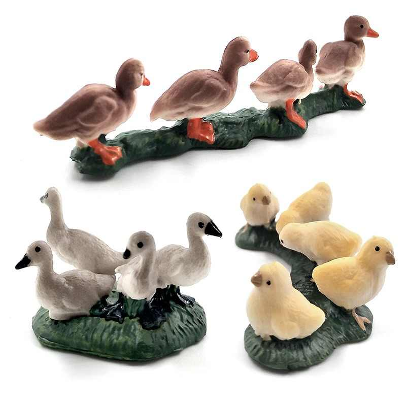 Simulation small Chicken Duck Goose animal model figure plastic home decor Decoration figurine Gift For Kids educational Pvc toy