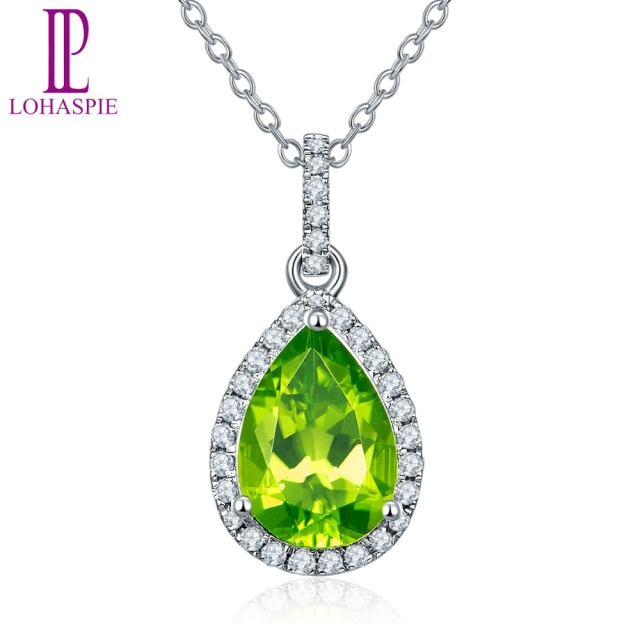 Lohaspie Diamond-Jewelry Solid 14K White Gold Natural Gemstone Peridot Pendant For August Birthday Gift Fashion W/ Silver Chain