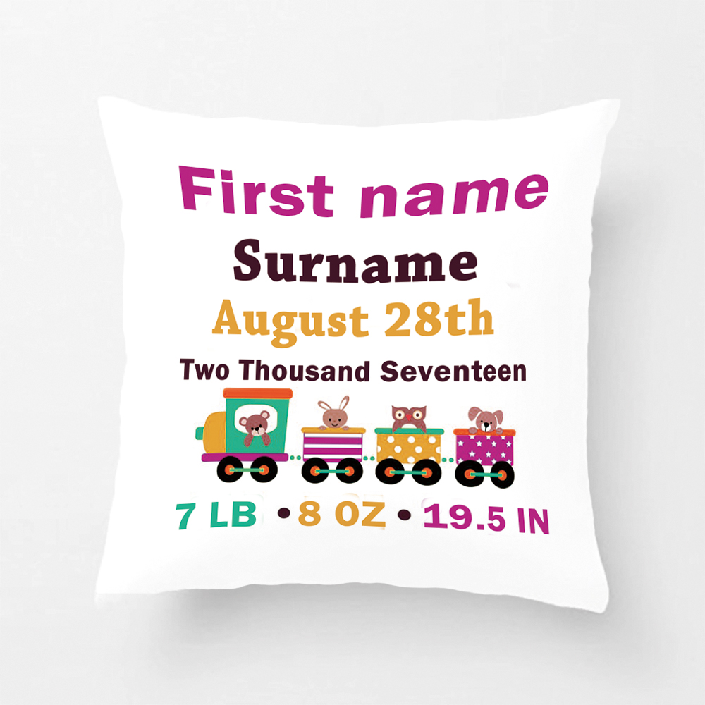 Cute Animals Toy Train Birth Announcement Wedding Decorative Pillowcase Customize Baby Cushion Cover Gift For Sofa Seat Lvsure