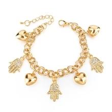 New Arrival Jewelry Silver Gold Plated Hamsa Bracelets For Women Crystal Charm Bracelets Bangles  Accessories SBR160021 new fashion charm bracelets for women bracelets exquisite rhinestone bracelets jewelry female