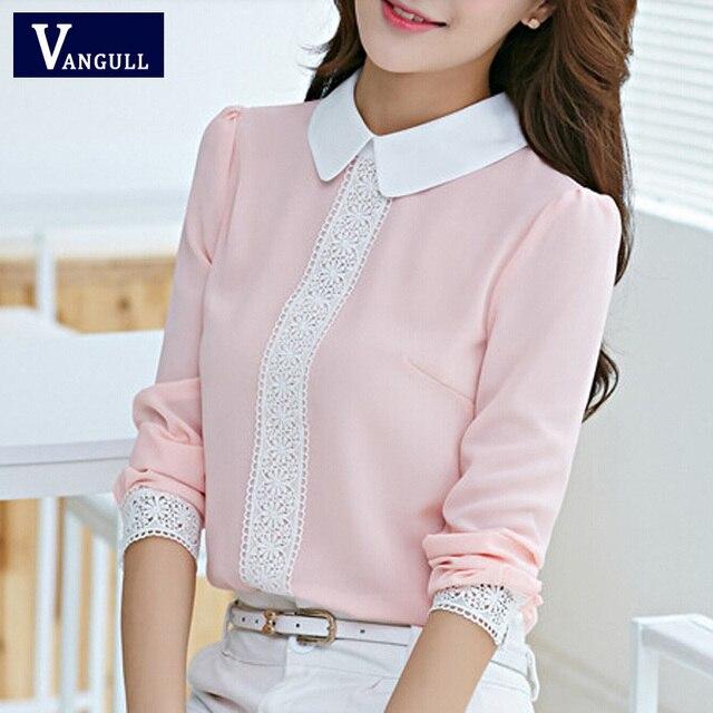 Женщины шифоновая блузка новые 2016 летом питер пэн воротник девушку с длинными рукавами кружевной вязаные топы блузки белый розовые рубашки