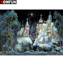 HOMFUN Full Square/Round Drill 5D DIY Diamond Painting Castle scenery Embroidery Cross Stitch 5D Home Decor Gift A16419 homfun full square round drill 5d diy diamond painting tower scenery embroidery cross stitch 5d home decor gift